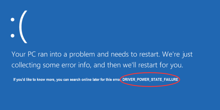 Laptop error driver power state failure