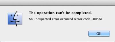 Mac error code 8058