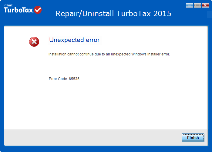 Turbotax install error 65535