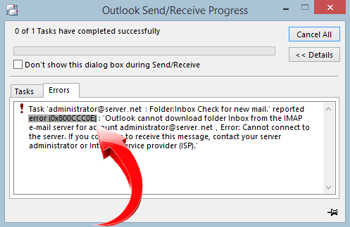 Outlook express error code ox800cccoe