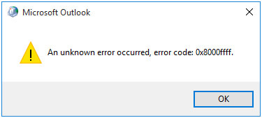 Outlook data file error code 0x8000ffff