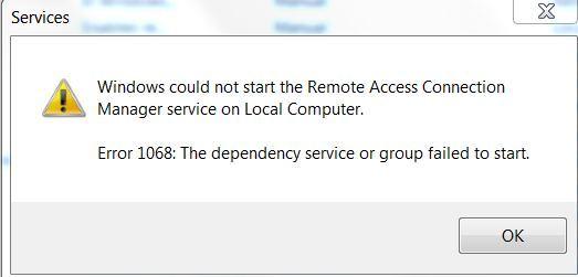 Windows Error 1068