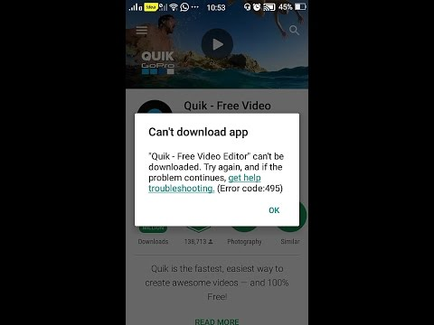 What is Google play error 495