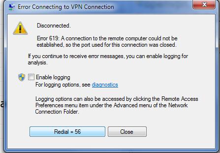 VPN Error 619