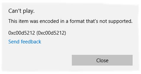 Windows Media Player Error 0xc00d5212