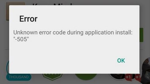 Google play error 505
