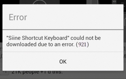 Google play store update error 921