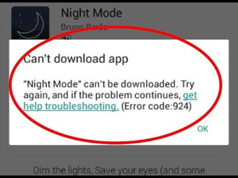 Google play update error 924