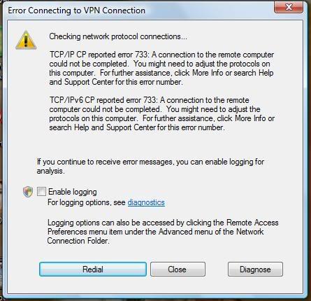 vpn error 733