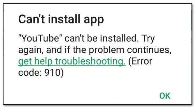 Youtube error code 910
